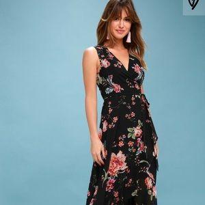 LULUS TAWNY BLACK FLORAL PRINT WRAP MAXI DRESS